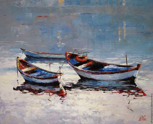 """Пейзаж ручной работы. Ярмарка Мастеров - ручная работа. Купить Картина """"Лодки"""", холст, масло.. Handmade. Голубой, рыбаки, подарок"""