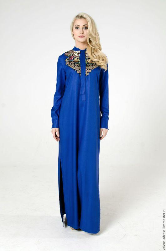 Платье рубашка, платье в пол, летнее длинное платье