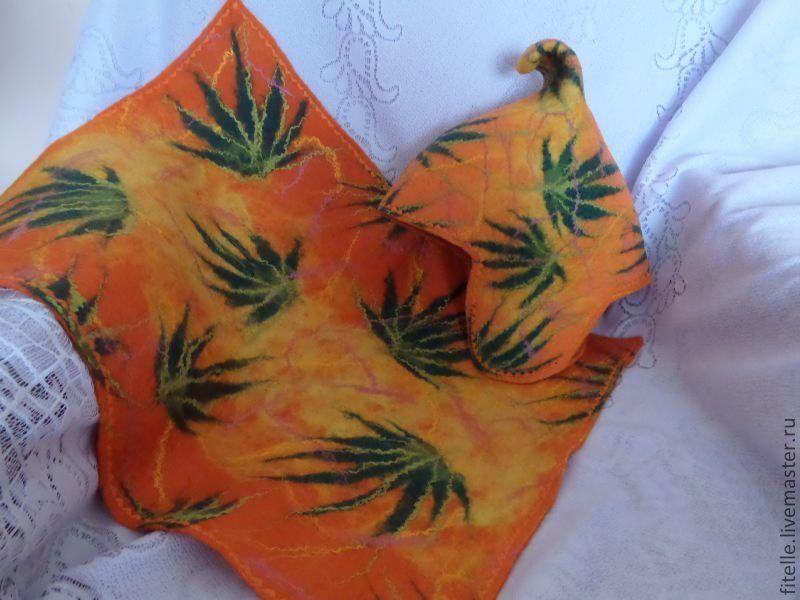 Set for saunas 'Orange summer', Textiles for a bath, Kalachinsk,  Фото №1
