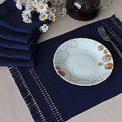 Для дома и интерьера handmade. Livemaster - original item Set of homespun napkins for table setting dark blue. Handmade.