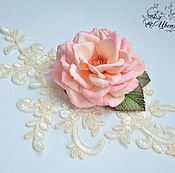 Свадебный салон handmade. Livemaster - original item Barrette brooch with rose Gentle kiss. Handmade.