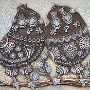 Картина  Маленькие птицы кружевное панно