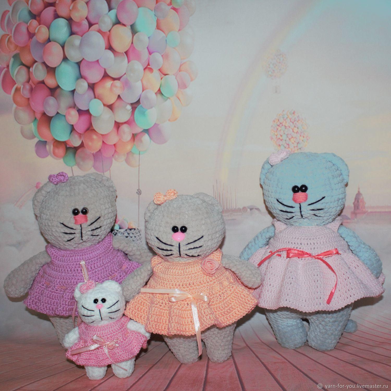 Вязаный котик, ручной работы, Мягкие игрушки, Москва,  Фото №1