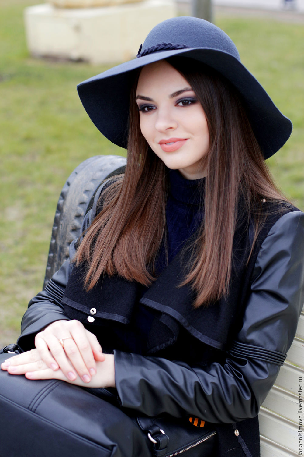 Wide brim hat Classic. Floppy hat. Colour dark gray, Hats1, Moscow,  Фото №1