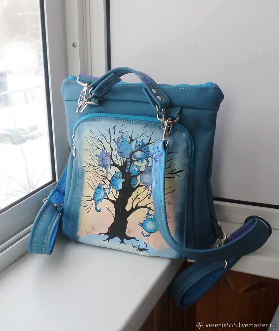 Backpack leather with double-sided painting to order Natalia, Classic Bag, Noginsk,  Фото №1