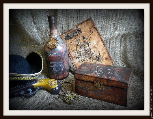 Шкатулка деревянная Пиратская.Шкатулка декупаж.Подарок мужчине