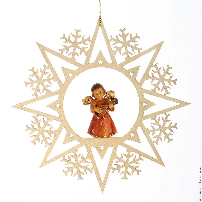 """Елочная игрушка """"Снежинка с ангелом"""", Елочные игрушки, Москва,  Фото №1"""