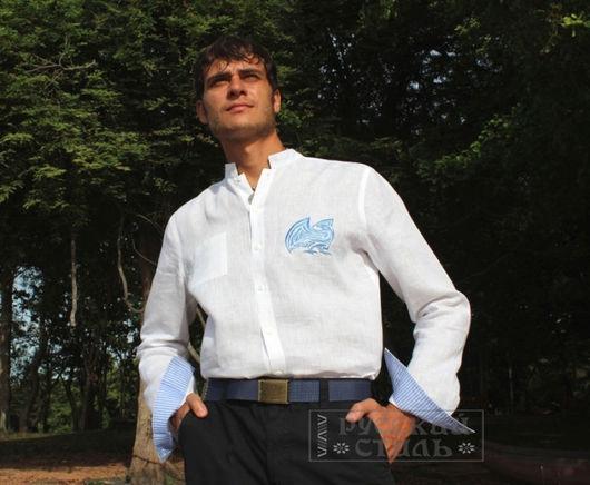 """Для мужчин, ручной работы. Ярмарка Мастеров - ручная работа. Купить Рубаха """"Феникс"""". Handmade. Белый, славянская символика"""