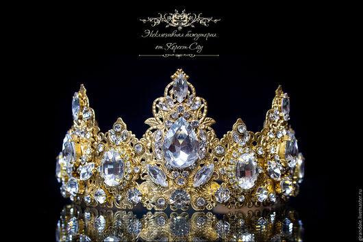 """Диадемы, обручи ручной работы. Ярмарка Мастеров - ручная работа. Купить Тиара-корона свадебная """"Золотой Век""""  в стиле D & G ободок золотой. Handmade."""