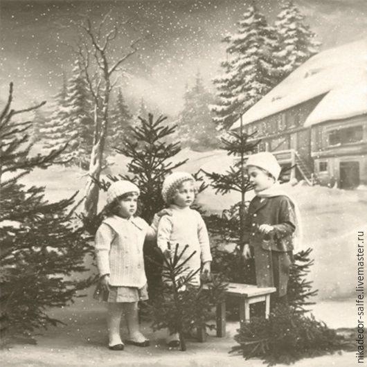 Декупаж и роспись ручной работы. Ярмарка Мастеров - ручная работа. Купить Рождественские дети (80064) 33х33 салфетка для декупажа. Handmade.