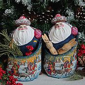 Подарки к праздникам ручной работы. Ярмарка Мастеров - ручная работа Дед Мороз с мешком для подарков 2 (резной, расписной). Handmade.