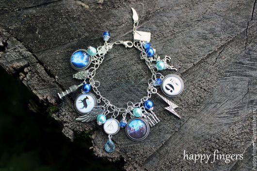 """Браслеты ручной работы. Ярмарка Мастеров - ручная работа. Купить Браслет """"Гарри Поттер"""" синий голубой, Harry Potter дары смерти. Handmade."""