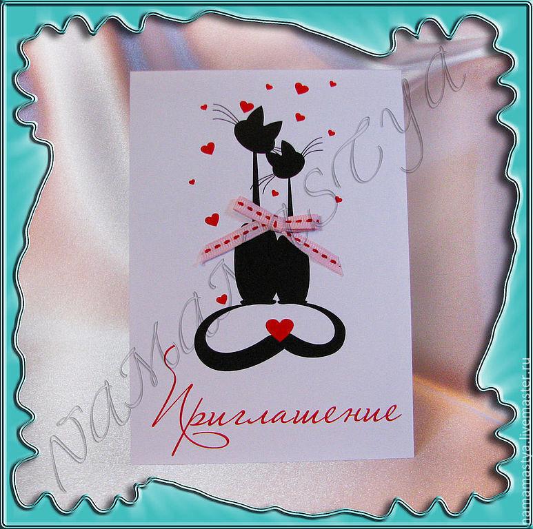 """Пригласительный на свадьбу """"влюбленные коты"""", Приглашения, Москва,  Фото №1"""