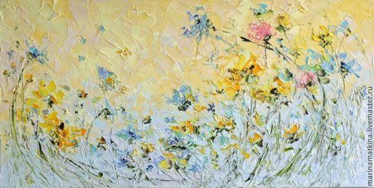 картина маслом на холсте с подрамником объемная живопись нежная с цветами летняя картина утро утренняя картина на рассвете летние цветы летнее поле с цветами на кухню в столовую в гостиную в спальню с