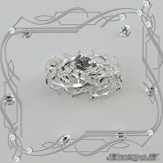 Ring 'Vintage-Vintage' 925 sterling silver, crystal diamond, Rings, St. Petersburg,  Фото №1