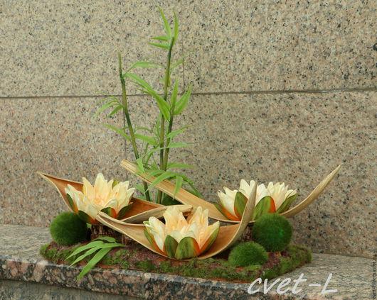 """Интерьерные композиции ручной работы. Ярмарка Мастеров - ручная работа. Купить """"Лотосы"""". Handmade. Комбинированный, искусственные цветы, коко-боут"""