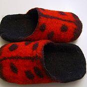 Работы для детей, handmade. Livemaster - original item felted baby Slippers ladybug. Handmade.