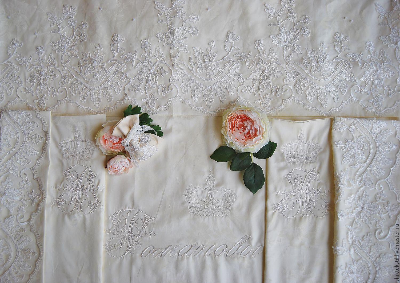 Подарок на свадьбу.Комплект постельного белья с кружевом и вышивкой, Подарки, Самара,  Фото №1