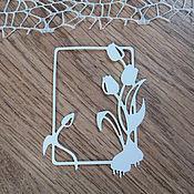 Материалы для творчества handmade. Livemaster - original item !Cutting for scrapbooking- FRAME-TULIPS, FLOWERS, diz cardboard. Handmade.