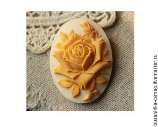 Для украшений ручной работы. Ярмарка Мастеров - ручная работа. Купить Камея Желтая роза на кремовом, 30х40мм (пластик) 1шт.. Handmade.