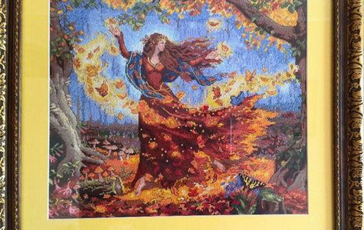 """Фантазийные сюжеты ручной работы. Ярмарка Мастеров - ручная работа. Купить Картина """"Фея осени"""" (вышивка). Handmade. Разноцветный, осень"""