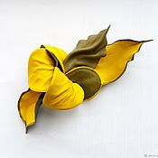 Украшения handmade. Livemaster - original item Brooch flower leather yellow Sunny olive. Handmade.