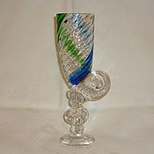 Винтаж handmade. Livemaster - original item VASE GLASS CUP TOASTMASTER MUSCAT HORN. Colored glass LSHS. Handmade.