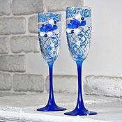 """Бокалы ручной работы. Ярмарка Мастеров - ручная работа Бокалы свадебные """"Классика"""" синие. Handmade."""