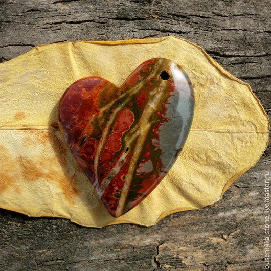 Для украшений ручной работы. Ярмарка Мастеров - ручная работа. Купить Подвеска Яшма пикассо №14, сердце (35х43мм). Handmade.