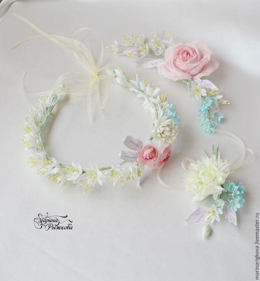Свадебные цветы ручной работы. Ярмарка Мастеров - ручная работа. Купить Свадебный комплект. Handmade. Веночек на голову, бутоньерка жениха