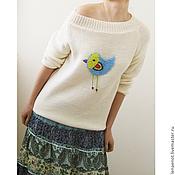 Одежда ручной работы. Ярмарка Мастеров - ручная работа Джемпер с птичкой 2. Handmade.