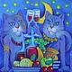 Животные ручной работы. Ярмарка Мастеров - ручная работа. Купить Гламурррные кошки.... Handmade. ВЕЧЕРИНКА, девичник, звезды, месяц, вино