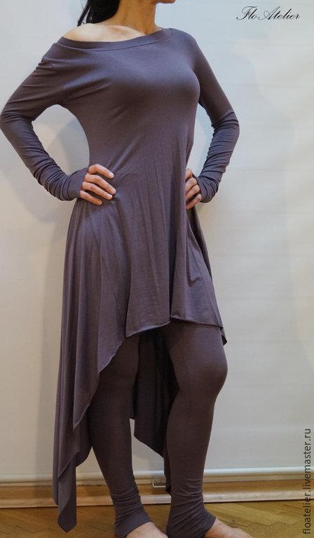 Платья ручной работы. Ярмарка Мастеров - ручная работа. Купить Aссиметричная туника МАXI/Повседневное палтье/F1132. Handmade. Темно-серый