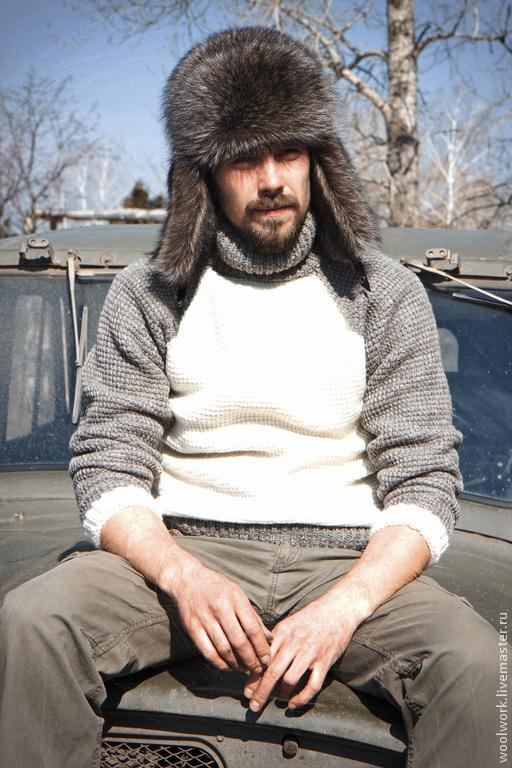 Вязаный свитер для отдыха Новый  ручной работы бело-серый свитер свитер из двух цветов  подарок для мужчины  для женщины из натуральной шерсти  для отдыха  воротник – гольф  подарок на любой случай