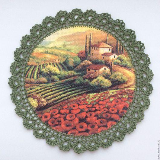 """Картины цветов ручной работы. Ярмарка Мастеров - ручная работа. Купить Панно салфетка """"Маковые поля"""", имитация вышивки. Handmade."""