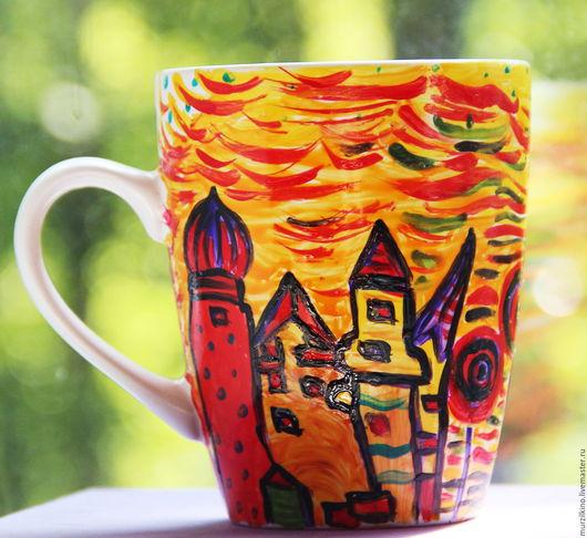 Авторская посуда ручной работы с обжигом. Эксклюзивная керамическая кружка  по мотивам работ художника Хундертвассера.