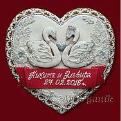 Свадебный салон ручной работы. Ярмарка Мастеров - ручная работа Свадебный  имбирный пряник Сердце с лебедями, цветами и бусинками. Handmade.