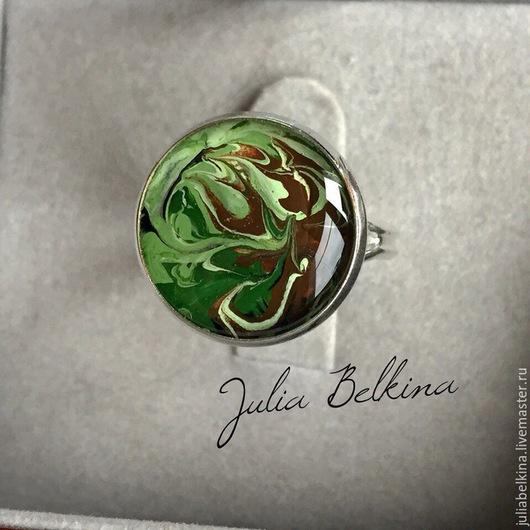 """Кольца ручной работы. Ярмарка Мастеров - ручная работа. Купить Расписное кольцо из ювелирной смолы """"Абсент"""". Handmade. Разноцветный, кольцо"""