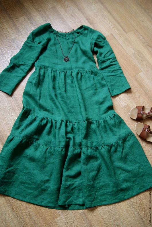 """Платья ручной работы. Ярмарка Мастеров - ручная работа. Купить Платье льняное """"Лесная зелень"""". Handmade. Зеленый, хиппи"""