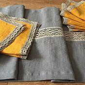 Для дома и интерьера handmade. Livemaster - original item Napkins and a path made of boiled flax. Handmade.