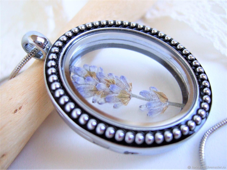 Transparent Locket Pendant Living Memory Pocket Lavender Flower Provence, Pendants, Taganrog,  Фото №1