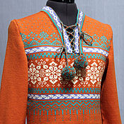 Одежда handmade. Livemaster - original item Women`s knitted sweater with the Norwegian pattern Ice&Desert, wool. Handmade.