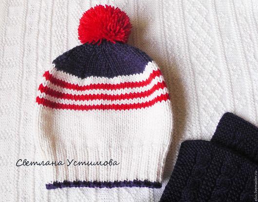 """Детские аксессуары ручной работы. Ярмарка Мастеров - ручная работа. Купить Шапка  вязаная  """"Я люблю море"""" шапка. Handmade."""