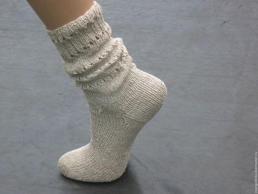 Носки, Чулки ручной работы. Ярмарка Мастеров - ручная работа. Купить Льняные носки в Эко стиле. Handmade. Оливковый