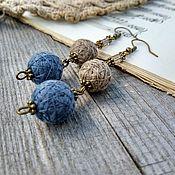 Украшения handmade. Livemaster - original item Earrings Clip Glomeruli Textile Long Light Blue Beige Boho. Handmade.