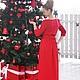 длинное красное трикотажное платье