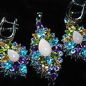 Украшения handmade. Livemaster - original item Earrings Pendant Augustine Opal Tanzanite Amethyst Peridot Topaz Sterling Silver. Handmade.