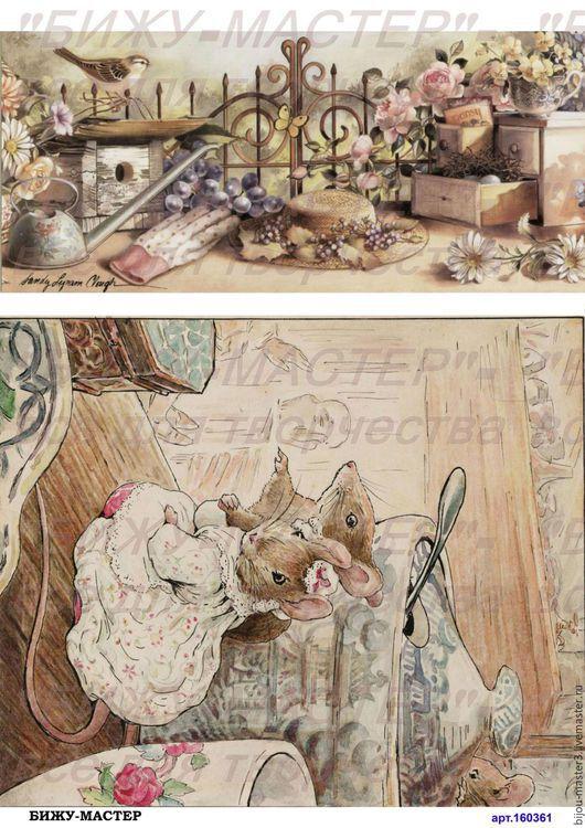 Декупаж и роспись ручной работы. Ярмарка Мастеров - ручная работа. Купить Декупажная рисовая карта А4 арт.160361 Мышки, Бижу-Мастер. Handmade.