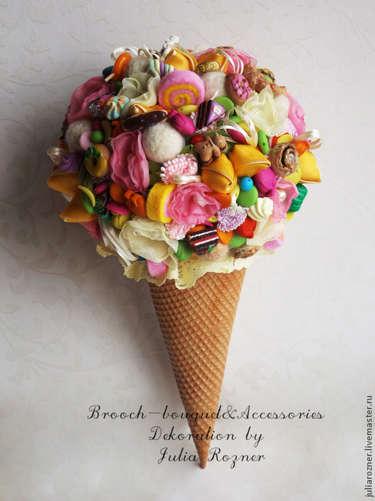 """Свадебные цветы ручной работы. Ярмарка Мастеров - ручная работа. Купить Свадебный букет """"Мороженое"""" &комплект аксессуаров. Handmade."""