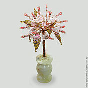 Цветы и флористика handmade. Livemaster - original item Family tree of rose quartz in a vase of onyx. Handmade.